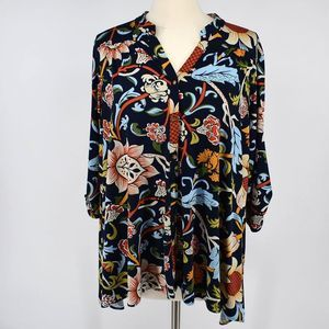 BCBG floral button paisley print tunic top XL